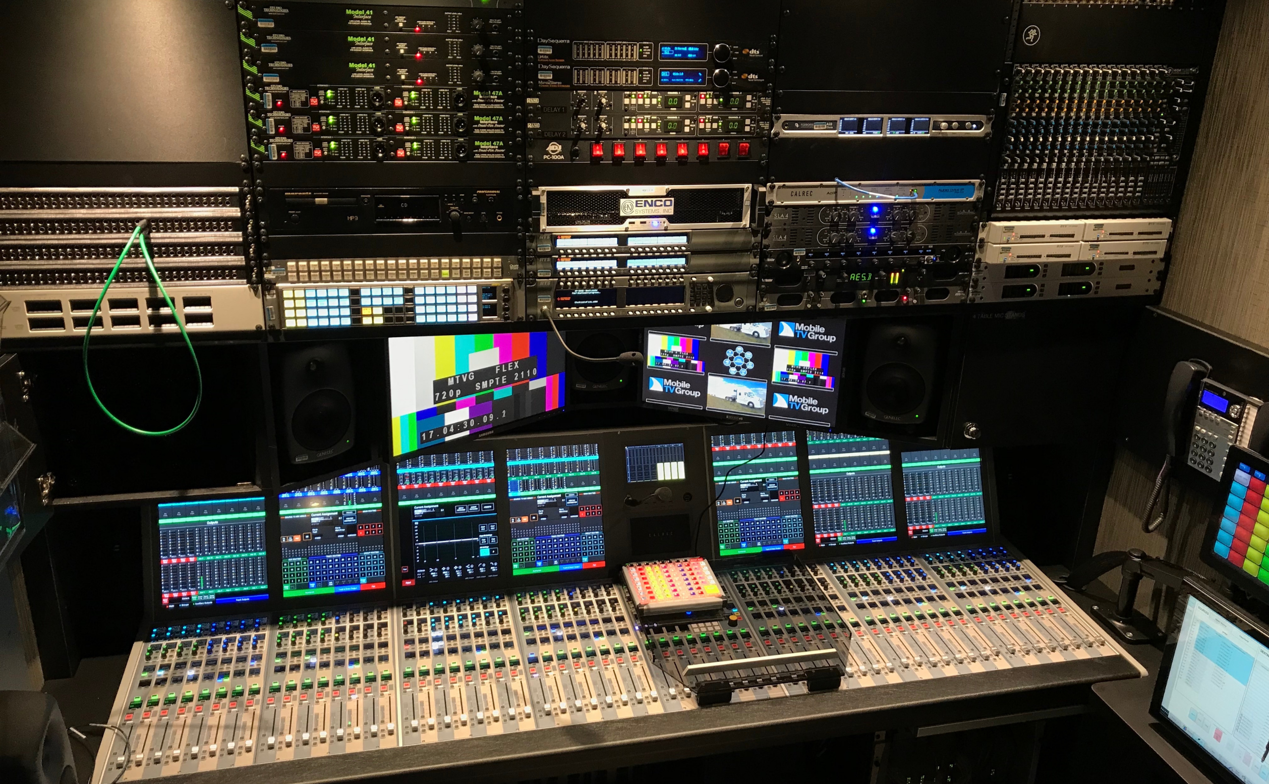 Calrec Artemis audio console in Mobile TV Group's OB truck.