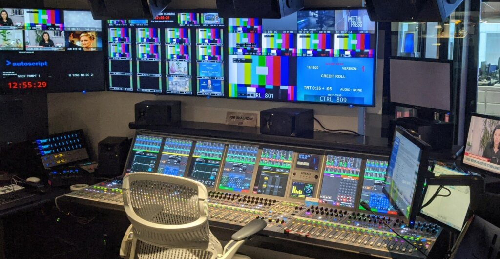 Calrec Artemis audio console installed by BeckTV at major US broadcasting facility.